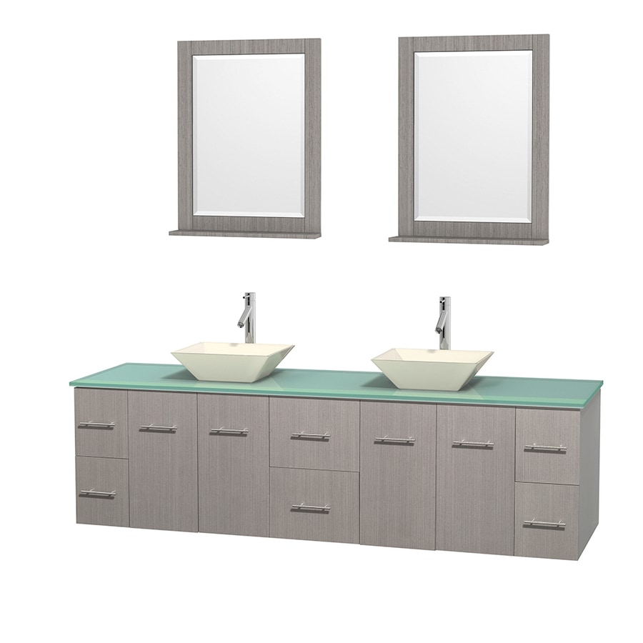 Wyndham Collection Centra Gray Oak Double Vessel Sink Bathroom Vanity with Tempered Glass and Glass Top (Common: 80-in x 22.5-in; Actual: 80-in x 22.25-in)