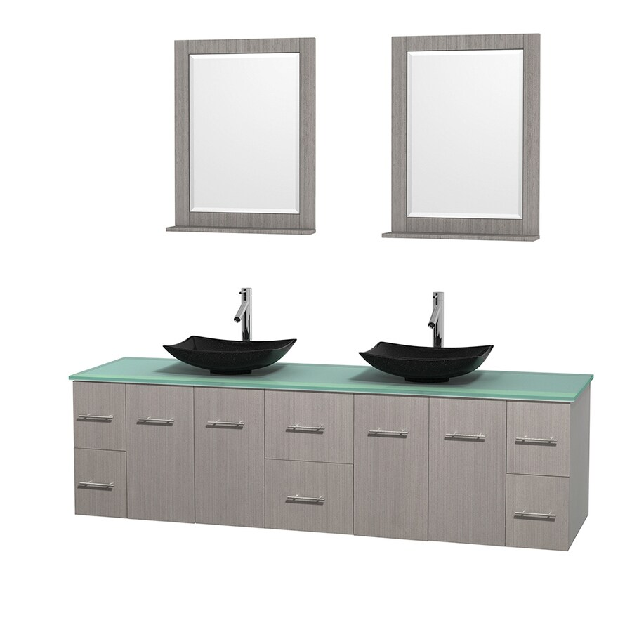 Wyndham Collection Centra Gray Oak (Common: 80-in x 22.5-in) Vessel Double Sink Oak Bathroom Vanity with Tempered Glass and Glass Top (Mirror Included) (Actual: 80-in x 22.25-in)