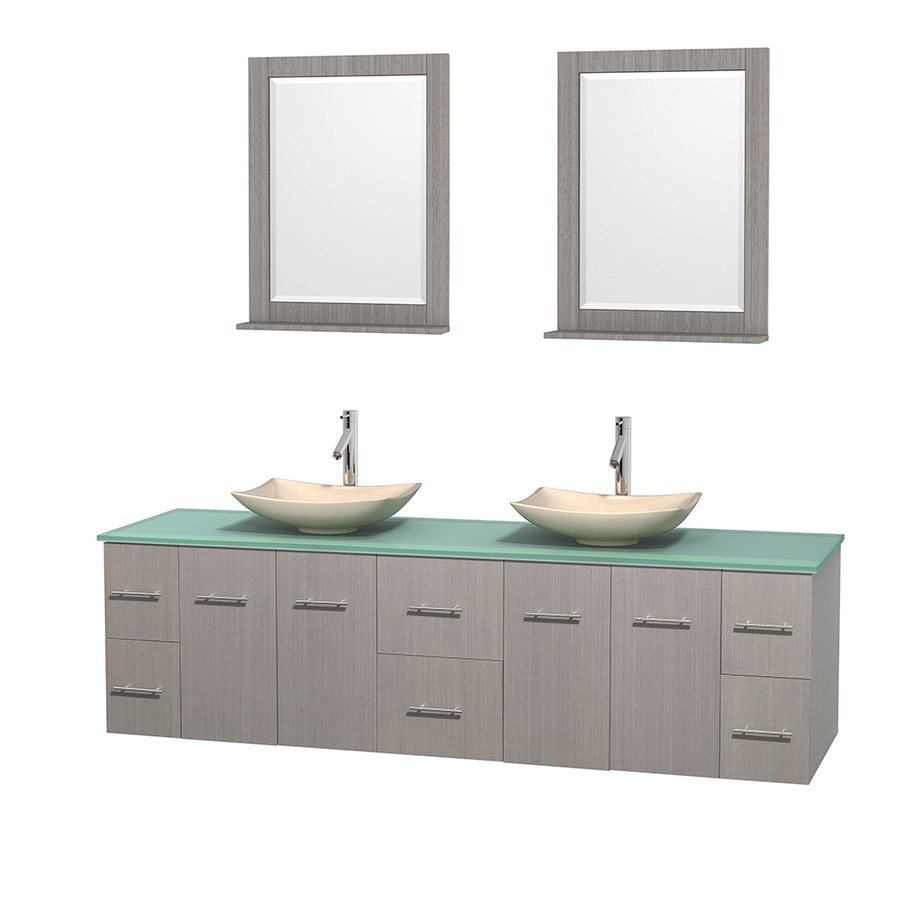 Wyndham Collection Centra Gray Oak 80-in Vessel Double Sink Oak Bathroom Vanity with Tempered Glass and Glass Top (Mirror Included)
