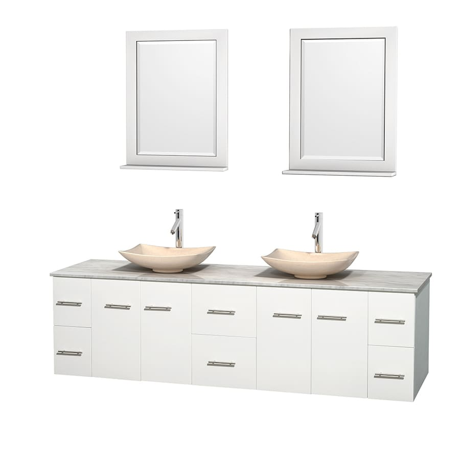 Wyndham Collection Centra White 80-in Vessel Double Sink Oak Bathroom Vanity with Natural Marble Top (Mirror Included)