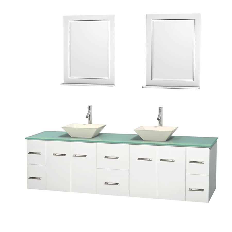 Wyndham Collection Centra White Double Vessel Sink Bathroom Vanity with Tempered Glass and Glass Top (Common: 80-in x 22.5-in; Actual: 80-in x 22.25-in)