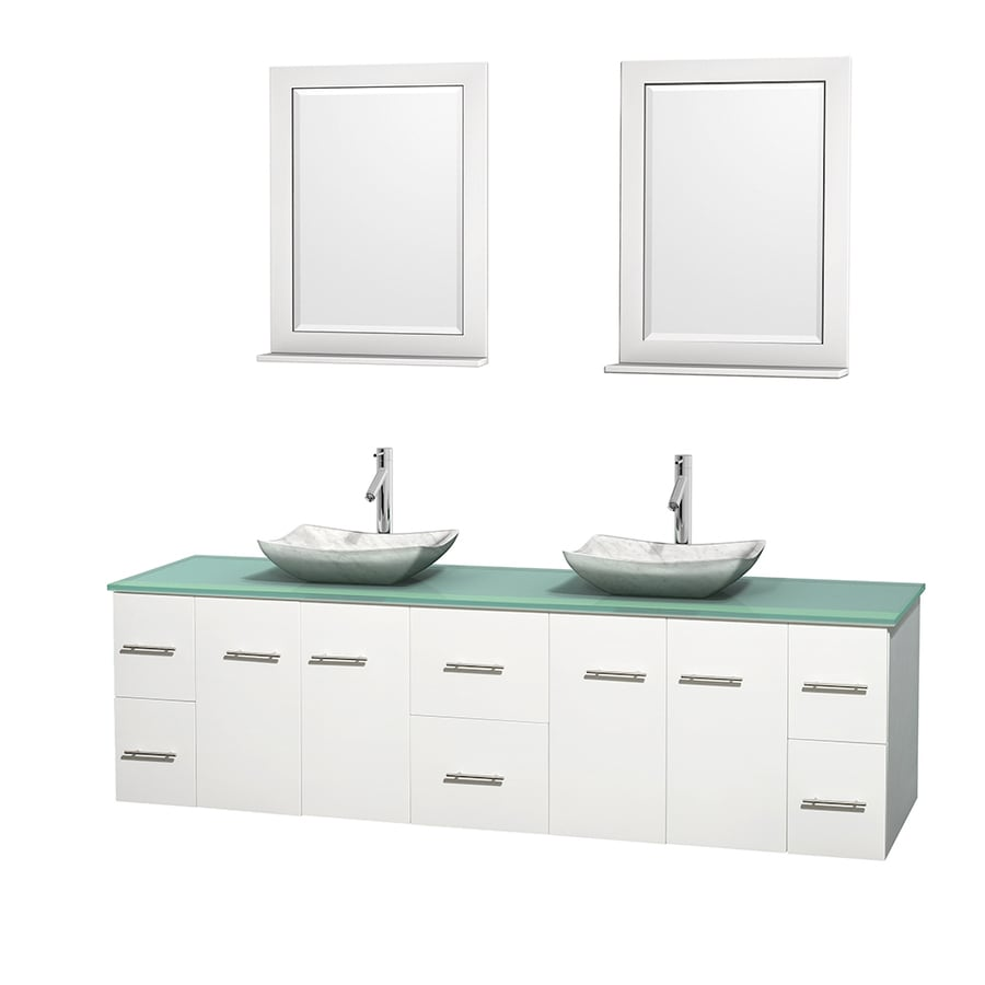 Wyndham Collection Centra White (Common: 80-in x 22.5-in) Vessel Double Sink Oak Bathroom Vanity with Tempered Glass and Glass Top (Mirror Included) (Actual: 80-in x 22.25-in)