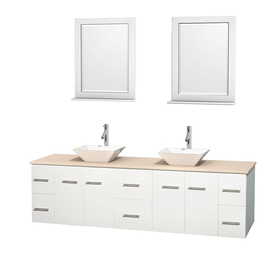 Wyndham Collection Centra White (Common: 80-in x 22.5-in) Vessel Double Sink Oak Bathroom Vanity with Natural Marble Top (Mirror Included) (Actual: 80-in x 22.25-in)