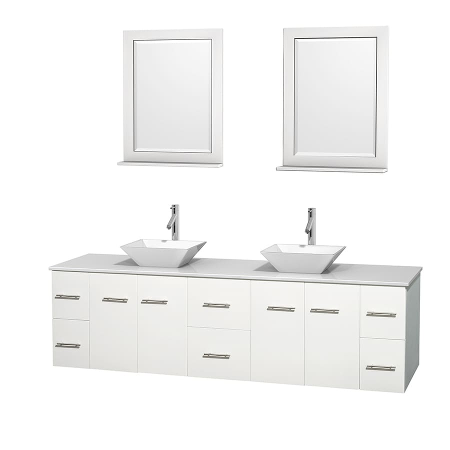 Wyndham Collection Centra White Double Vessel Sink Bathroom Vanity with Engineered Stone Top (Common: 80-in x 22.5-in; Actual: 80-in x 22.25-in)