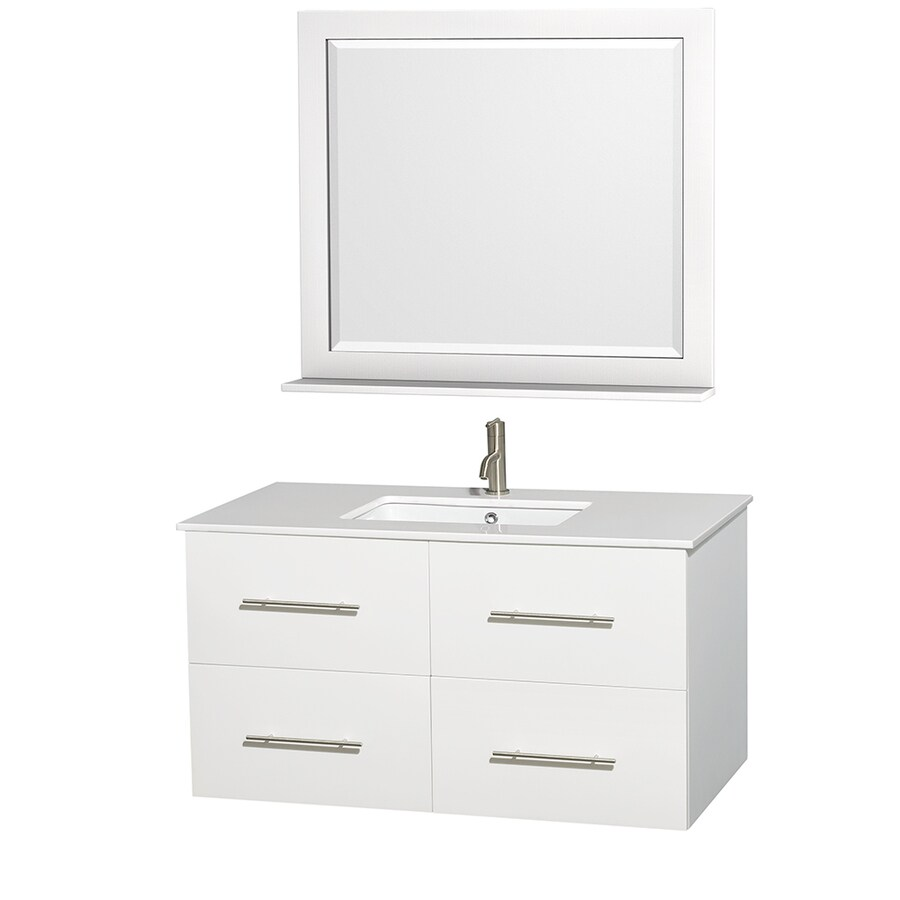 Wyndham Collection Centra White Undermount Single Sink Bathroom Vanity with Engineered Stone Top (Common: 42-in x 21.5-in; Actual: 42-in x 21.5-in)