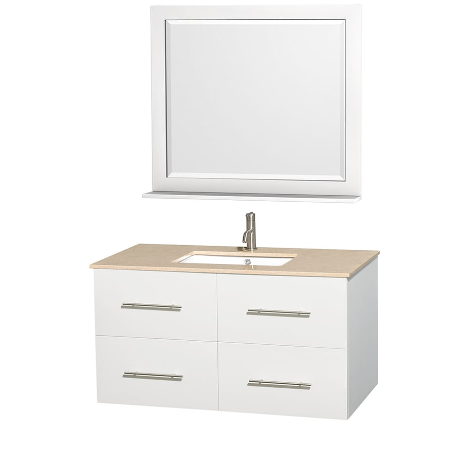 Wyndham Collection Centra White (Common: 42-in x 21.5-in) Undermount Single Sink Oak Bathroom Vanity with Natural Marble Top (Mirror Included) (Actual: 42-in x 21.5-in)