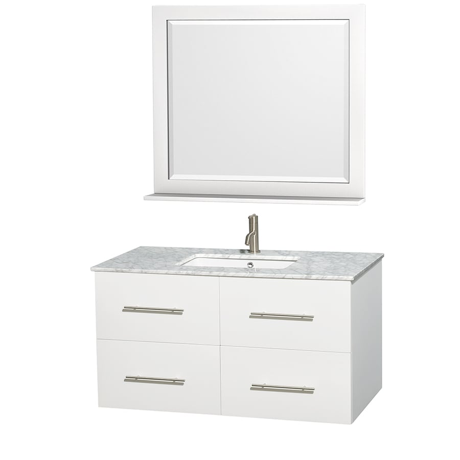 Wyndham Collection Centra White 42-in Undermount Single Sink Oak Bathroom Vanity with Natural Marble Top (Mirror Included)