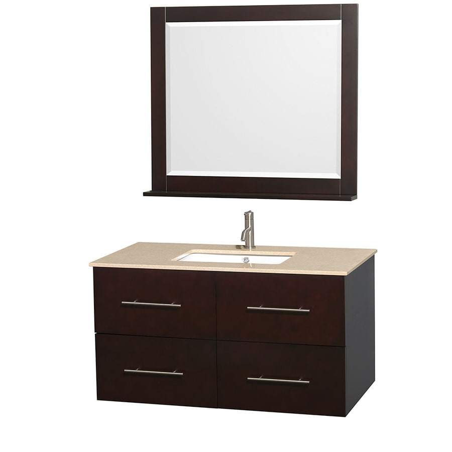 Wyndham Collection Centra Espresso (Common: 42-in x 21.5-in) Undermount Single Sink Oak Bathroom Vanity with Natural Marble Top (Mirror Included) (Actual: 42-in x 21.5-in)