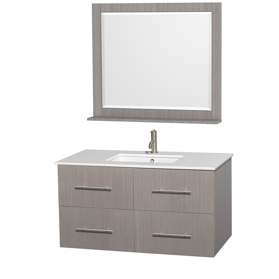 Wyndham Collection Centra Gray Oak (Common: 42-in x 21.5-in) Undermount Single Sink Oak Bathroom Vanity with Engineered Stone Top (Mirror Included) (Actual: 42-in x 21.5-in)