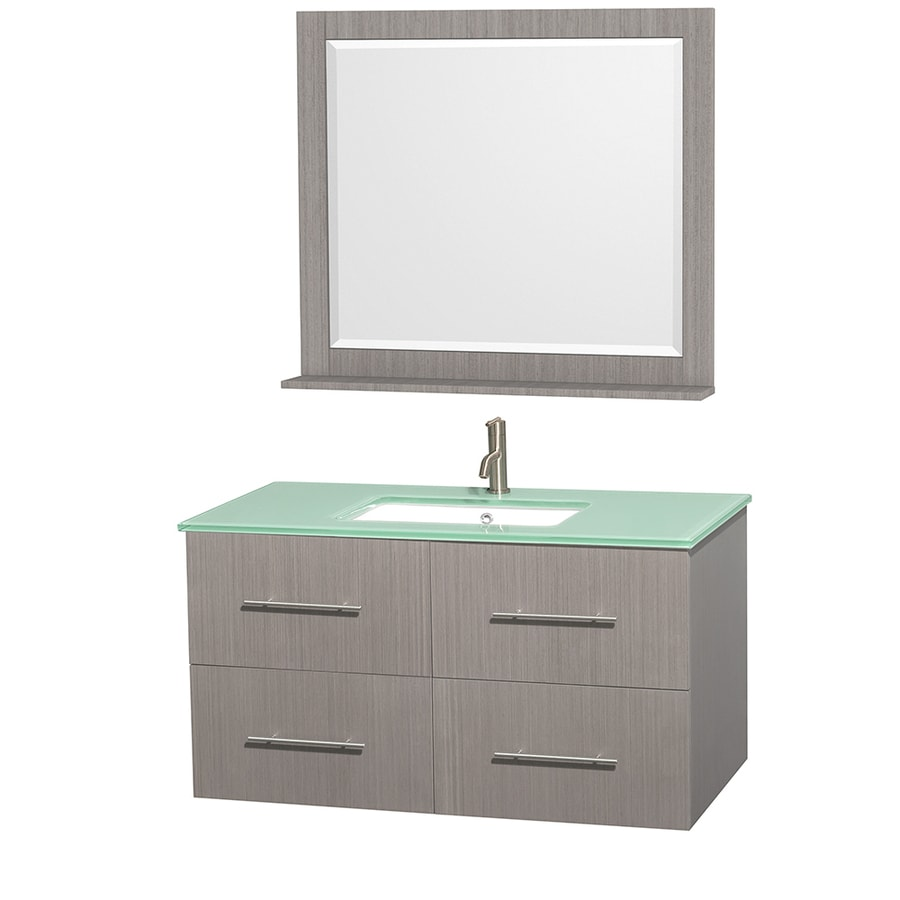 Wyndham Collection Centra Gray Oak 42-in Undermount Single Sink Oak Bathroom Vanity with Tempered Glass and Glass Top (Mirror Included)