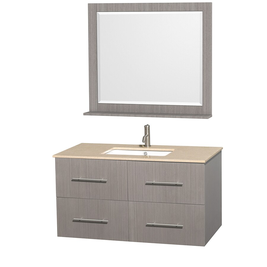 Wyndham Collection Centra Gray Oak Undermount Single Sink Bathroom Vanity with Natural Marble Top (Common: 42-in x 21.5-in; Actual: 42-in x 21.5-in)