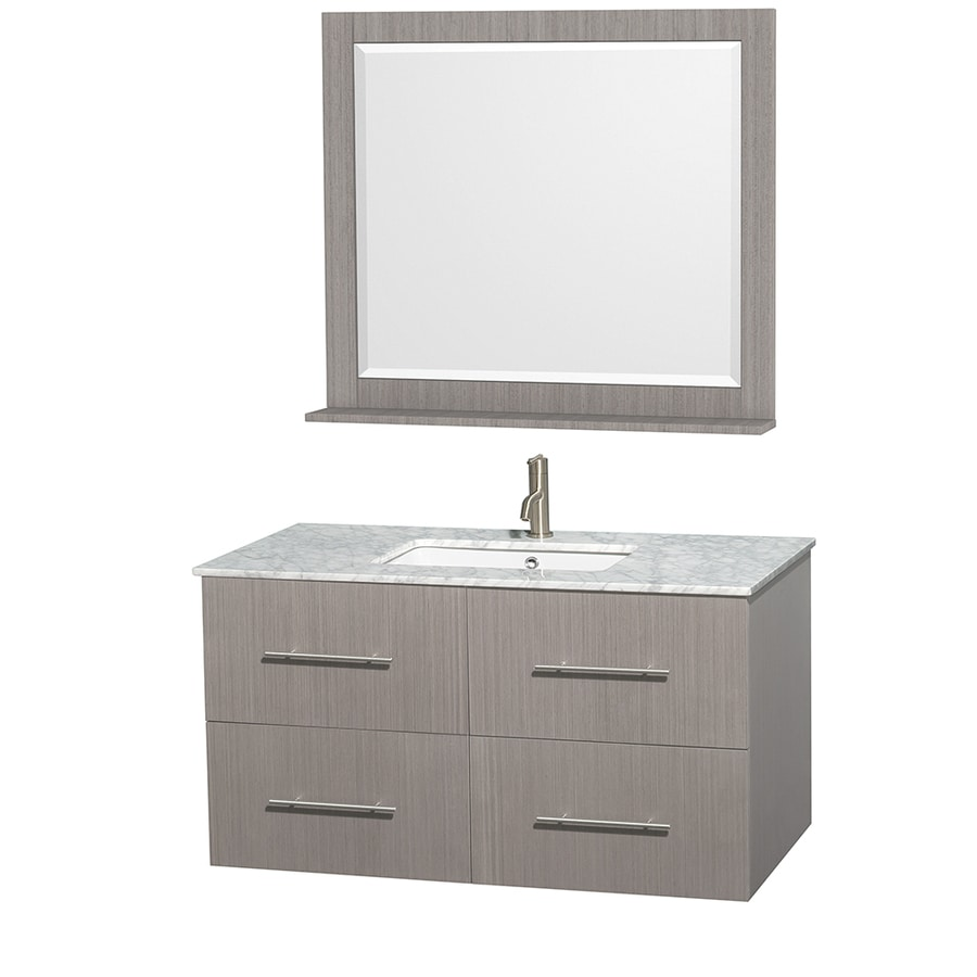 Wyndham Collection Centra Gray Oak 42-in Undermount Single Sink Oak Bathroom Vanity with Natural Marble Top (Mirror Included)