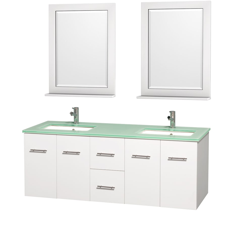 Wyndham Collection Centra White Undermount Double Sink Bathroom Vanity with Tempered Glass and Glass Top (Common: 60-in x 22.5-in; Actual: 60-in x 22.25-in)