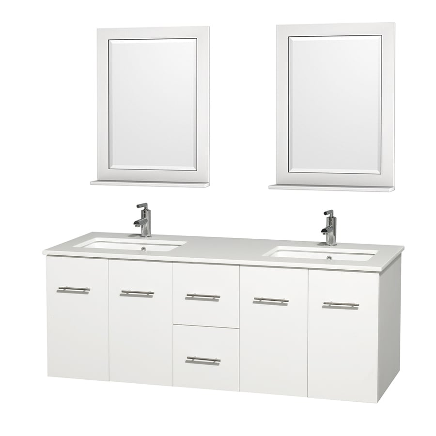 Wyndham Collection Centra White (Common: 60-in x 22.5-in) Undermount Double Sink Oak Bathroom Vanity with Engineered Stone Top (Mirror Included) (Actual: 60-in x 22.25-in)