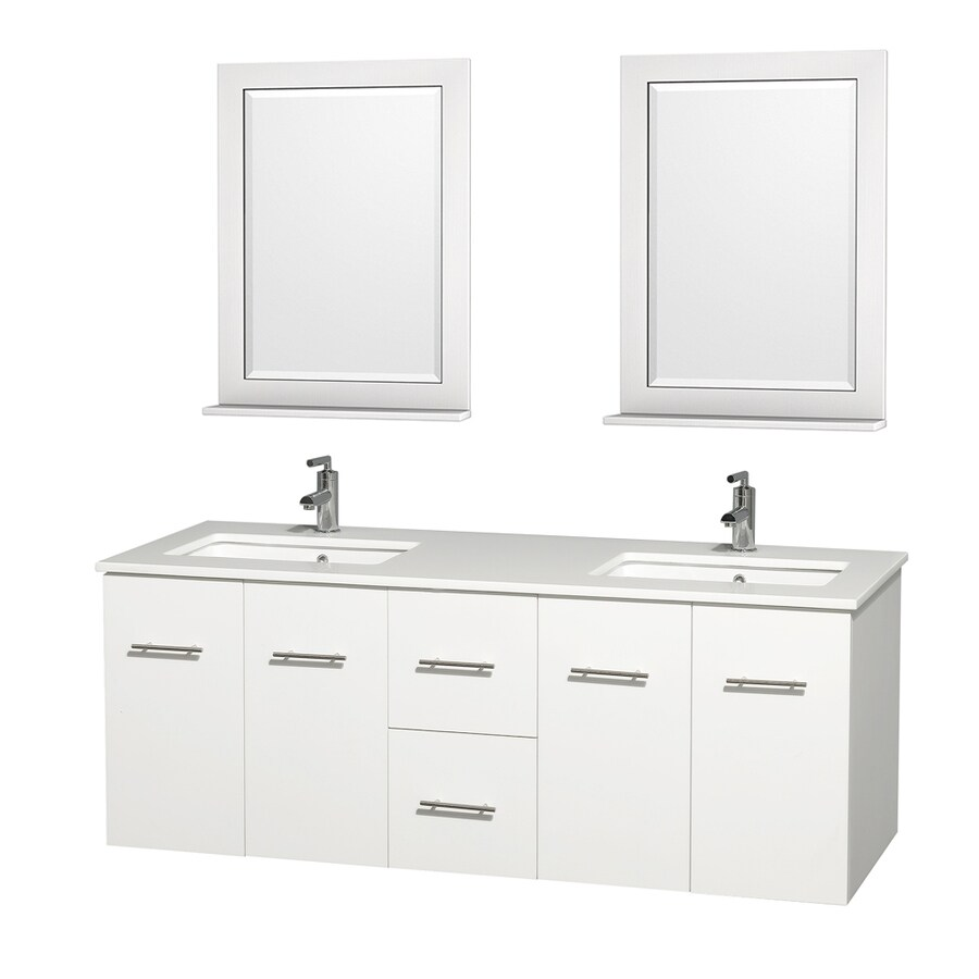 Wyndham Collection Centra White Undermount Double Sink Bathroom Vanity with Engineered Stone Top (Common: 60-in x 22.5-in; Actual: 60-in x 22.25-in)