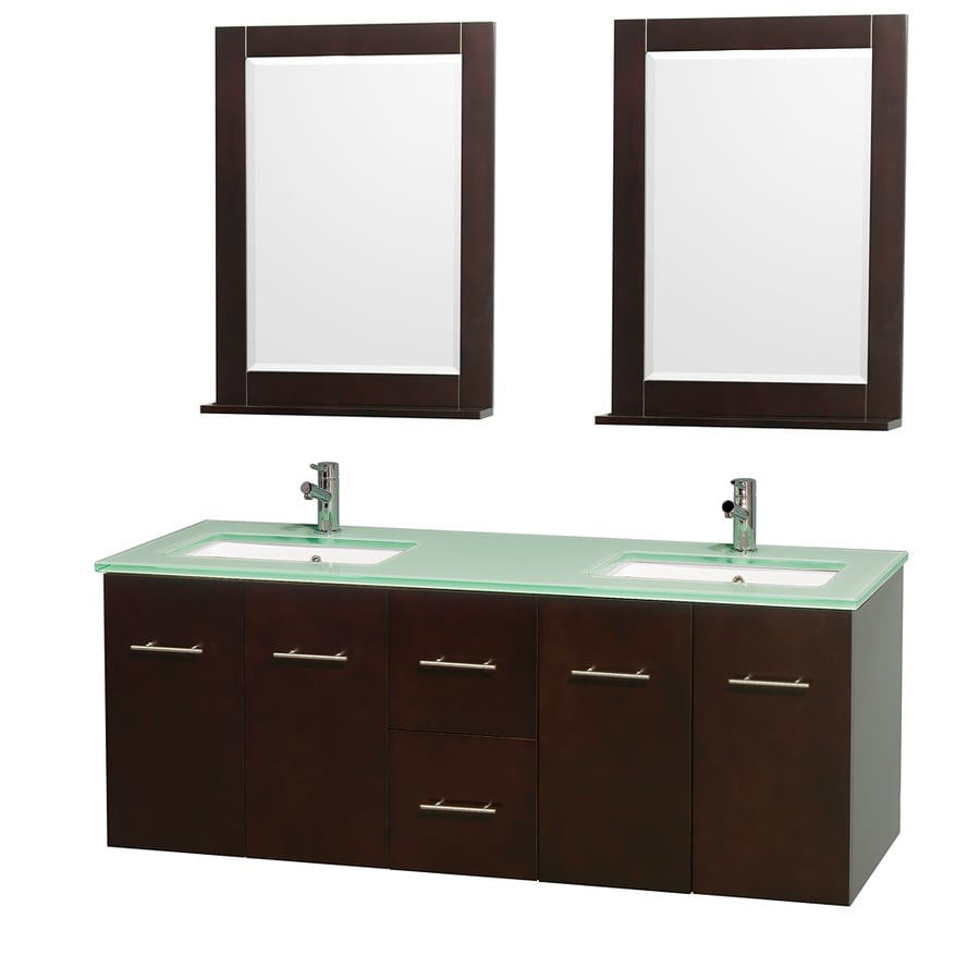 Wyndham Collection Centra Espresso Undermount Double Sink Bathroom Vanity with Tempered Glass and Glass Top (Common: 60-in x 22.5-in; Actual: 60-in x 22.25-in)