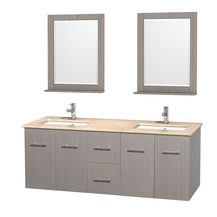 Wyndham Collection Centra Gray Oak Undermount Double Sink Bathroom Vanity with Natural Marble Top (Common: 60-in x 22.5-in; Actual: 60-in x 22.25-in)