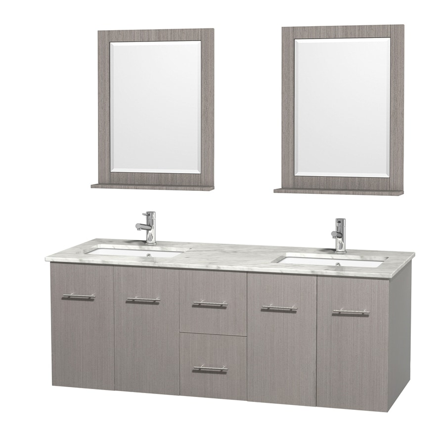 Wyndham Collection Centra Gray Oak 60-in Undermount Double Sink Oak Bathroom Vanity with Natural Marble Top (Mirror Included)