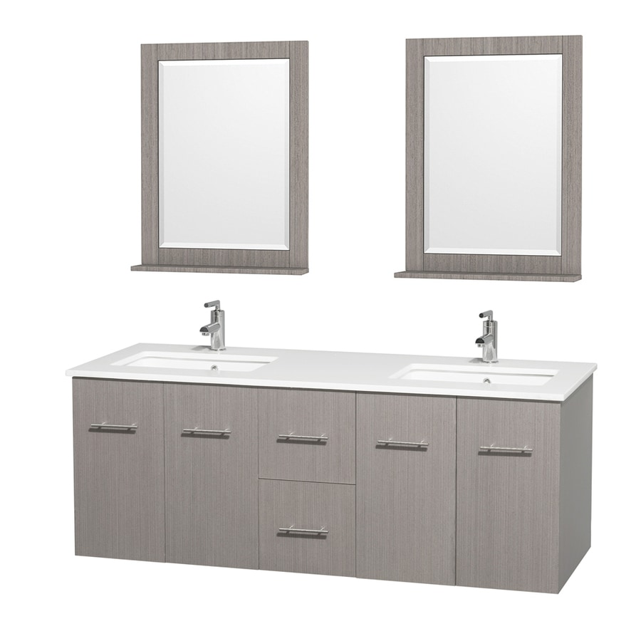 Wyndham Collection Centra Gray Oak Undermount Double Sink Bathroom Vanity with Engineered Stone Top (Common: 60-in x 22.5-in; Actual: 60-in x 22.25-in)