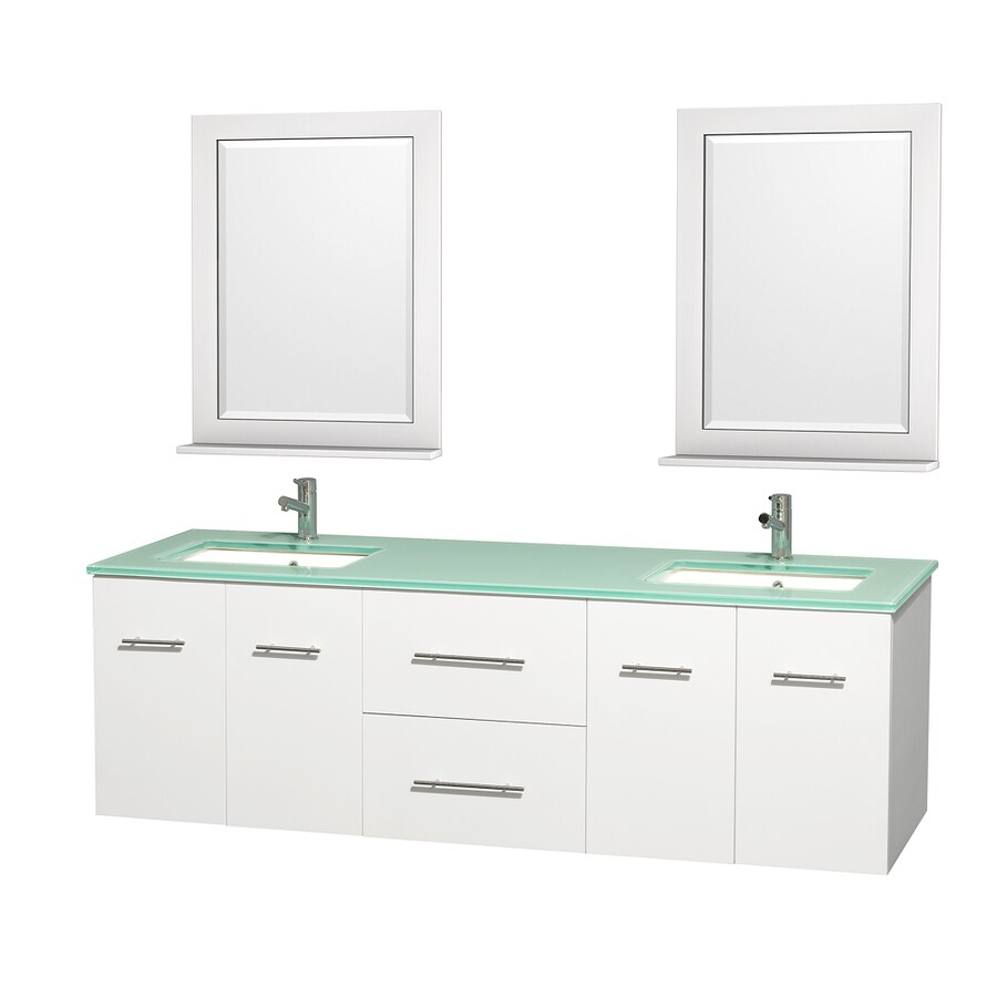 Shop Wyndham Collection Centra White Undermount Double Sink Bathroom Vanity With Tempered Glass