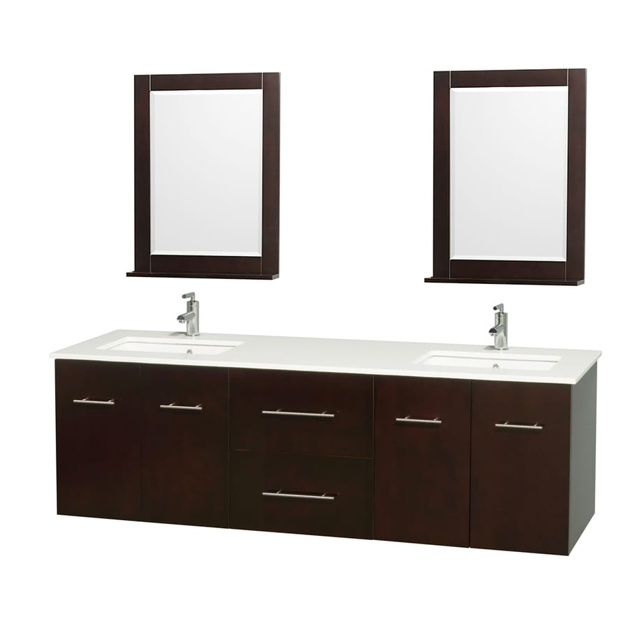 Wyndham Collection Centra Espresso (Common: 72-in x 22.5-in) Undermount Double Sink Oak Bathroom Vanity with Engineered Stone Top (Mirror Included) (Actual: 72-in x 22.25-in)