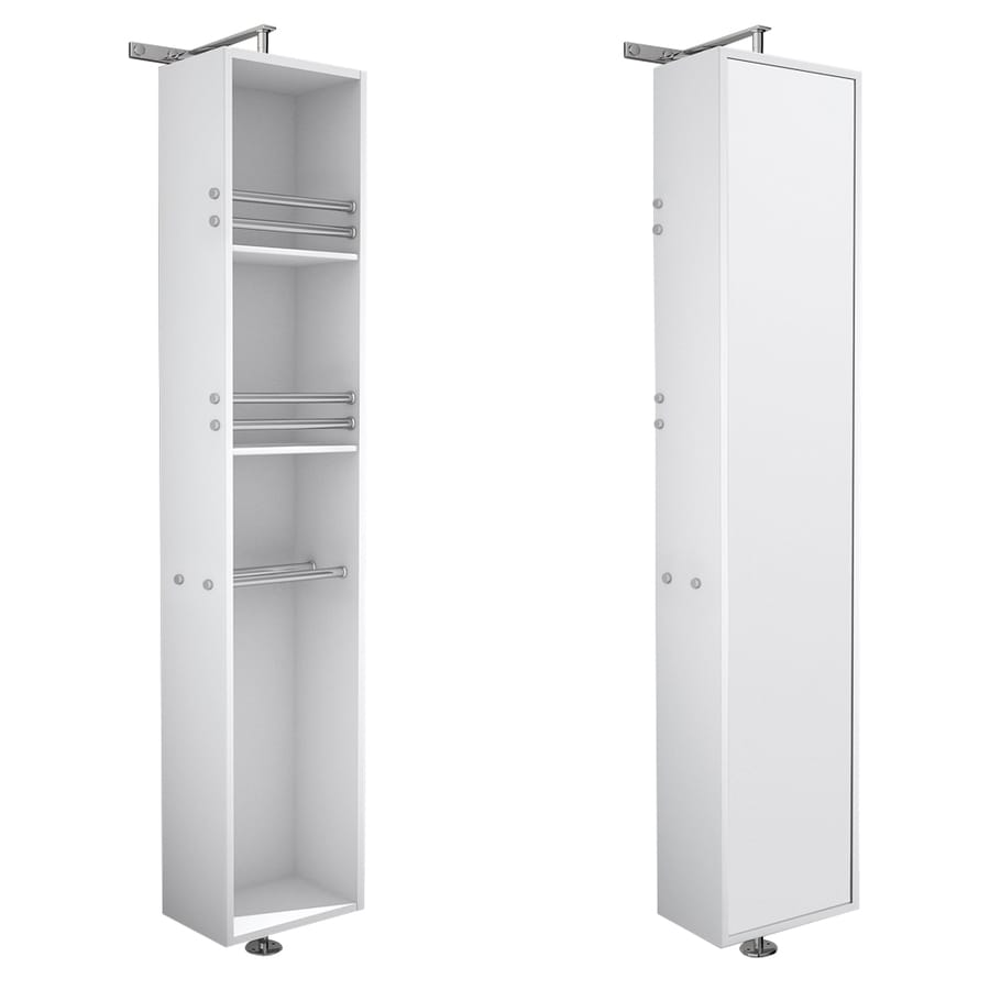Wyndham Collection April 13.75-in W x 79.5-in H x 15.5-in D White Oak Wall-Mount Linen Cabinet