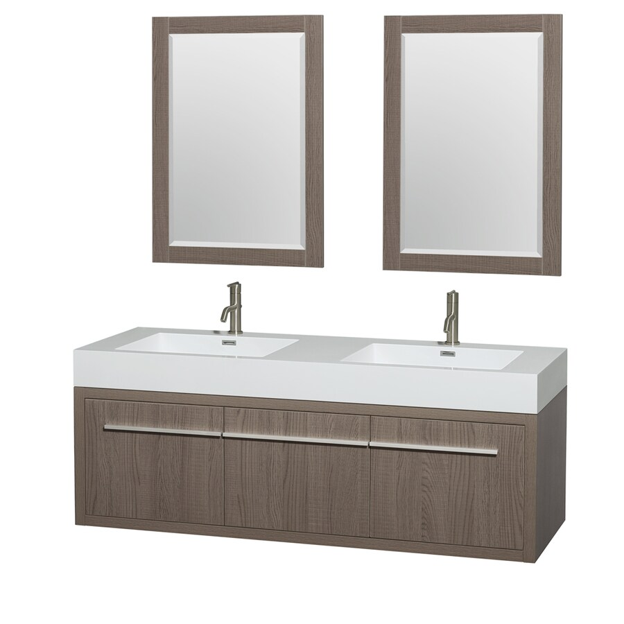 Wyndham Collection Axa Grey Oak (Common: 60-in x 22-in) Integral Double Sink Bathroom Vanity with Acrylic Top (Mirror Included) (Actual: 60-in x 21.75-in)