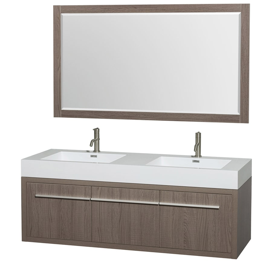 Wyndham Collection Axa Gray Oak 60-in Integral Double Sink Bathroom Vanity with Engineered Stone Top (Mirror Included)
