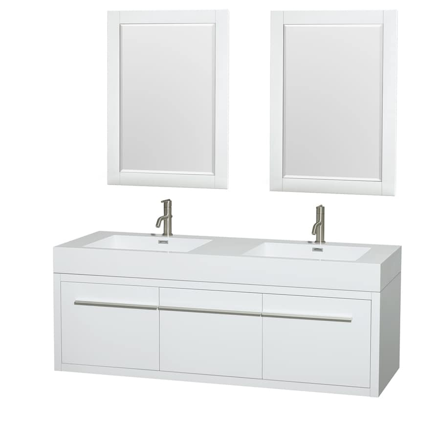 Wyndham Collection Axa Glossy White Integrated Double Sink Bathroom Vanity with Acrylic Top (Common: 60-in x 22-in; Actual: 60-in x 21.75-in)