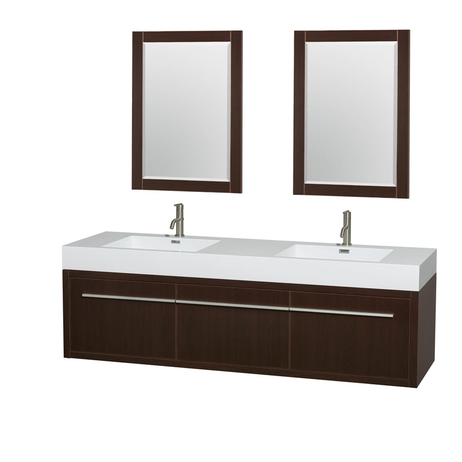 Wyndham Collection Axa Espresso Integrated Double Sink Bathroom Vanity with Acrylic Top (Common: 72-in x 22-in; Actual: 72-in x 21.75-in)
