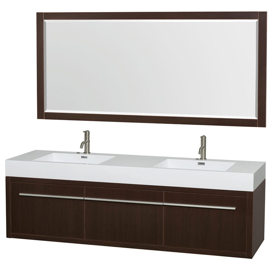 Wyndham Collection Axa Espresso 72-in Integral Double Sink Bathroom Vanity with Engineered Stone Top (Mirror Included)