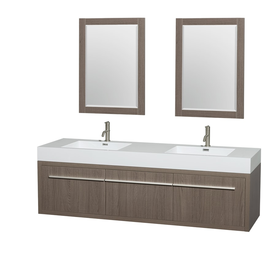 Wyndham Collection Axa Grey Oak Integrated Double Sink Bathroom Vanity with Acrylic Top (Common: 72-in x 22-in; Actual: 72-in x 21.75-in)