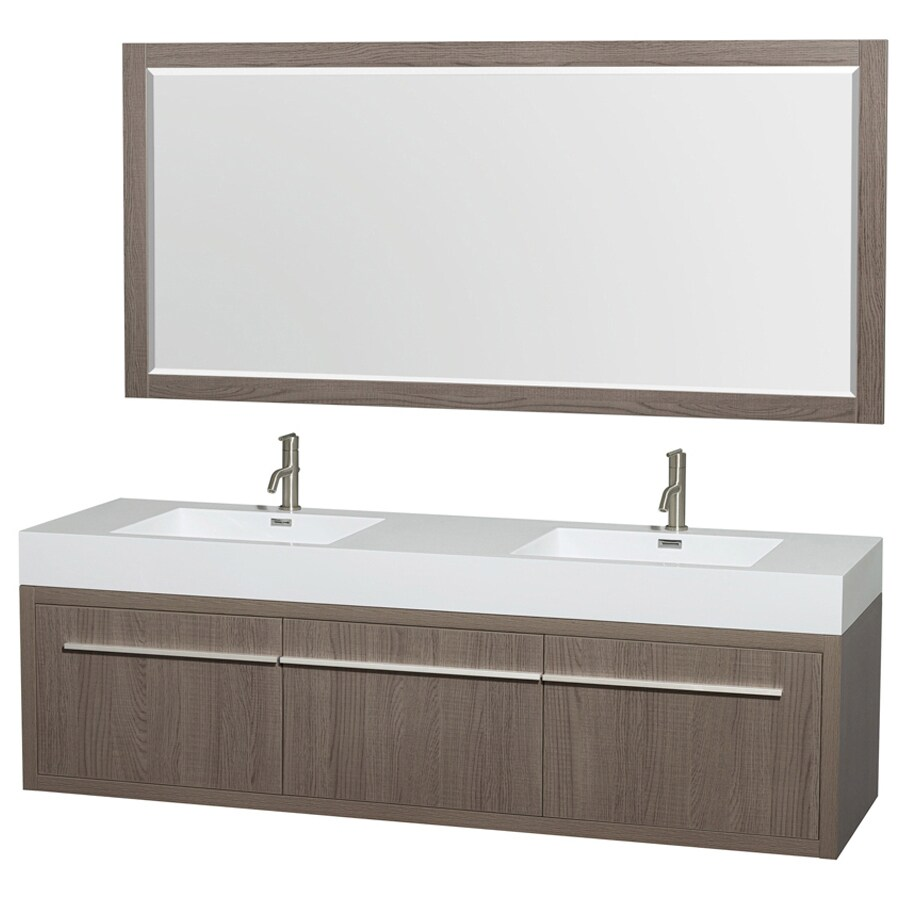 Wyndham Collection Axa Gray Oak Integrated Double Sink Bathroom Vanity with Engineered Stone Top (Common: 72-in x 22-in; Actual: 72-in x 21.75-in)