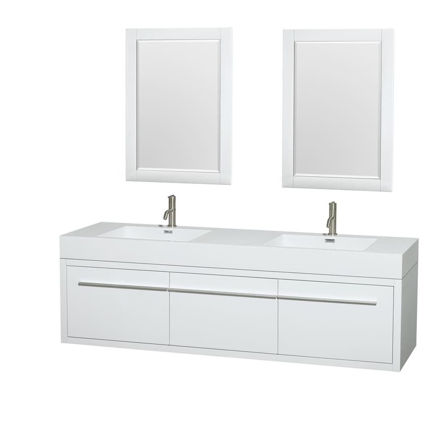 Wyndham Collection Axa Glossy White (Common: 72-in x 22-in) Integral Double Sink Bathroom Vanity with Acrylic Top (Mirror Included) (Actual: 72-in x 21.75-in)