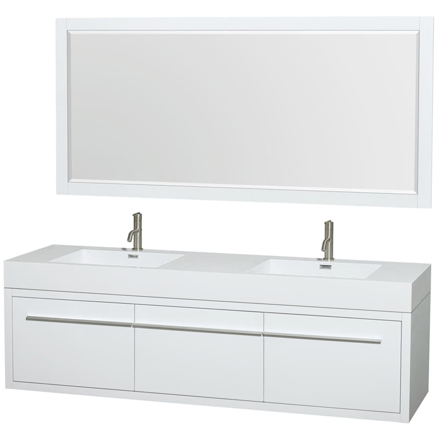 Shop Wyndham Collection Axa White Double Sink Vanity With White - 72 inch modern bathroom vanity
