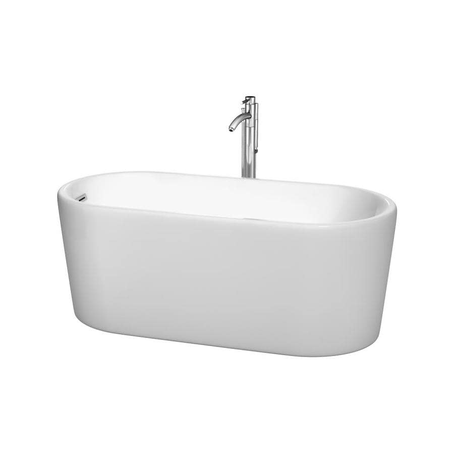 Wyndham Collection Ursula White Acrylic Oval Freestanding Bathtub with Left-Hand Drain (Common: 27-in x 59-in; Actual: 23-in x 27.5-in x 59-in)