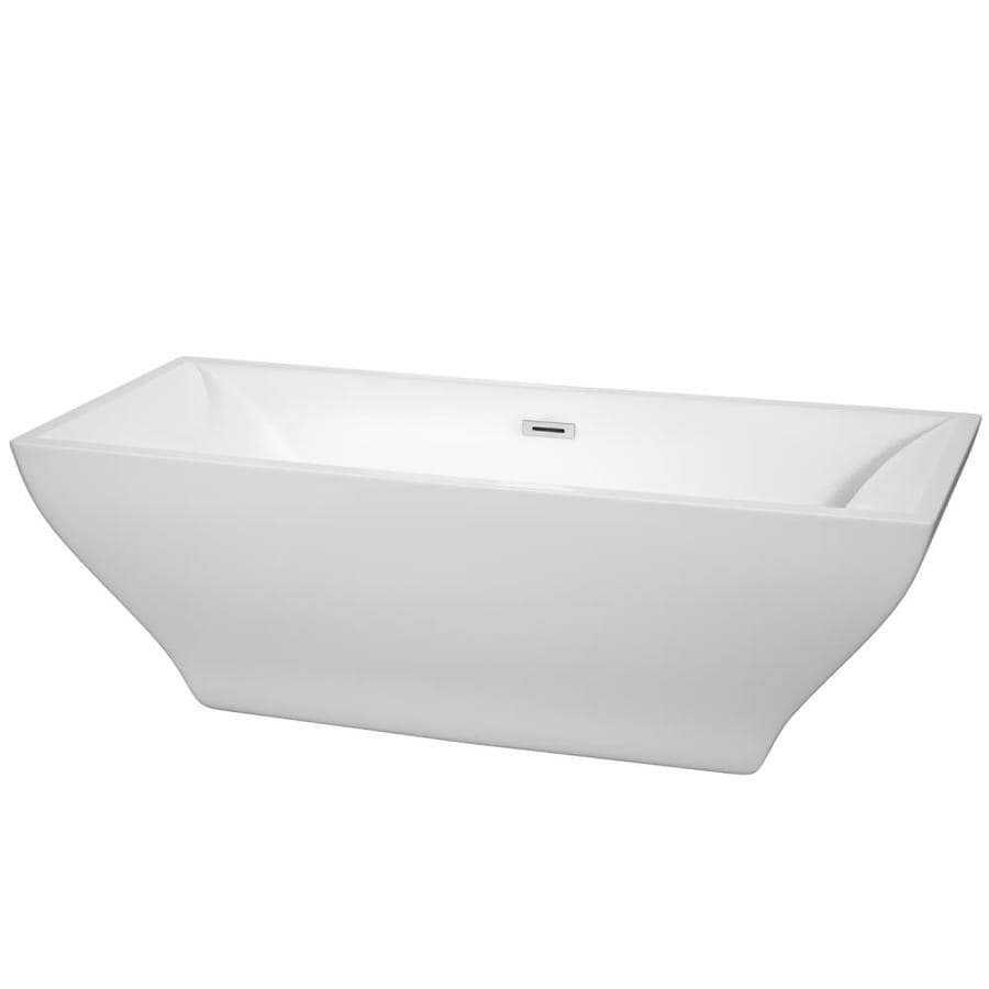 Wyndham Collection Maryam White Acrylic Rectangular Freestanding Bathtub with Reversible Drain (Common: 31-in x 71-in; Actual: 23-in x 31.25-in x 70.75-in)
