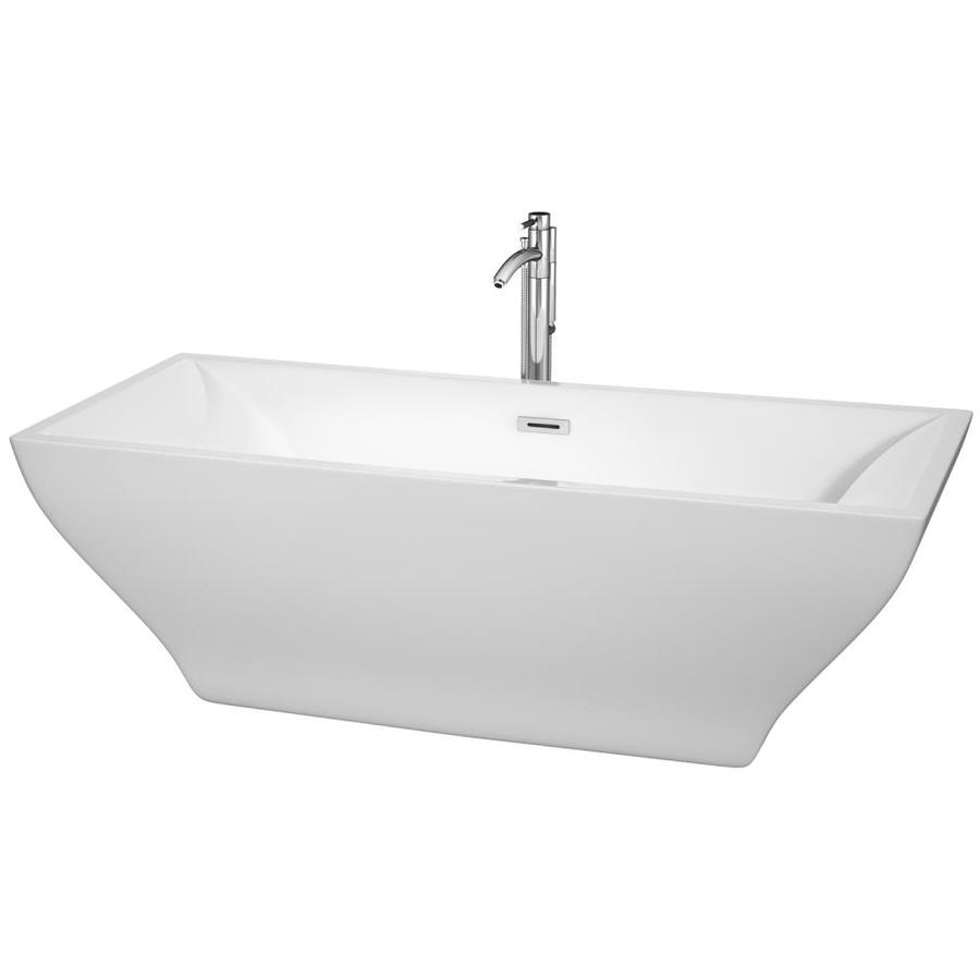 Wyndham Collection Maryam 70.75-in White Acrylic Freestanding Bathtub with Reversible Drain