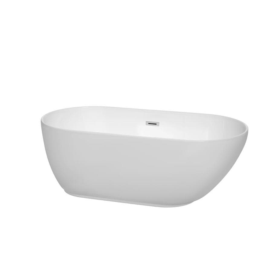 Wyndham Collection Melissa 60-in White Acrylic Freestanding Bathtub with Center Drain