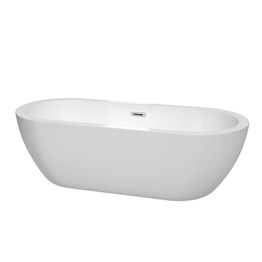 Wyndham Collection Soho White Acrylic Oval Freestanding Bathtub with Center Drain (Common: 31-in x 72-in; Actual: 23.75-in x 31.25-in x 71.5-in)