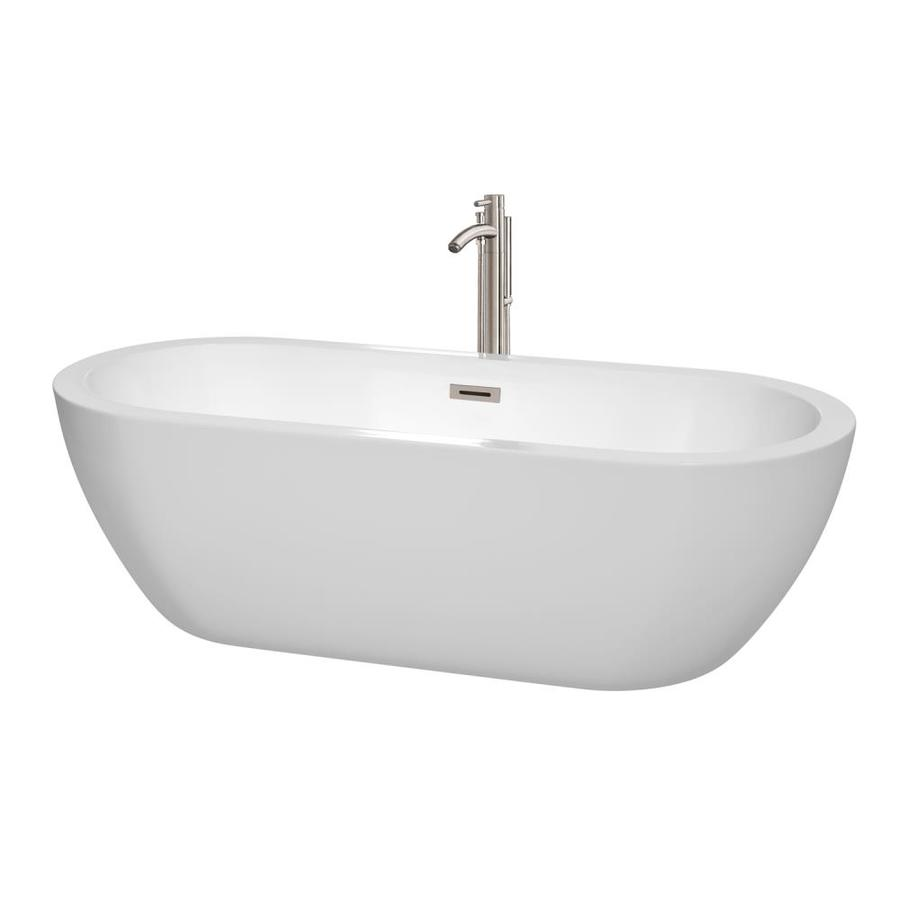 Wyndham Collection Soho 71.5-in White Acrylic Freestanding Bathtub with Center Drain