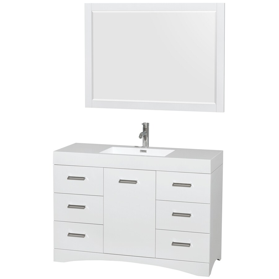 Shop Wyndham Collection Delray Glossy White Integrated Single Sink Bathroom Vanity With Acrylic