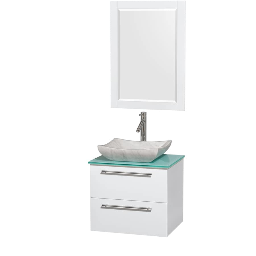 Wyndham Collection Amare Glossy White 24-in Vessel Single Sink Bathroom Vanity with Tempered Glass and Glass Top (Mirror Included)