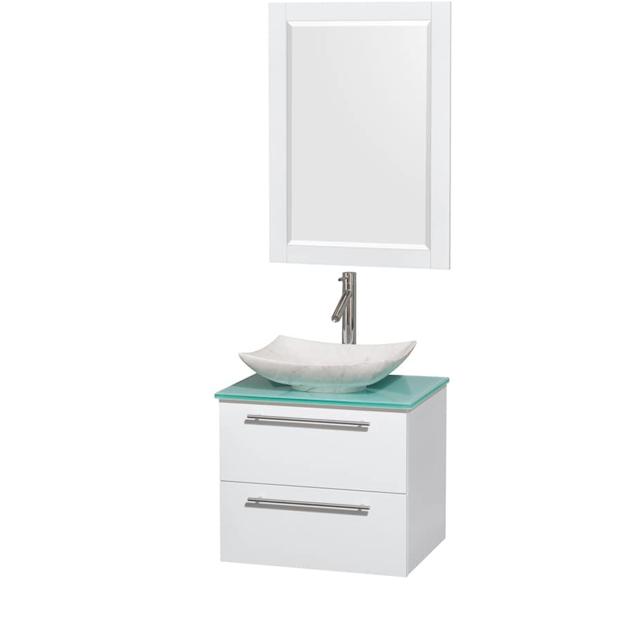 Wyndham Collection Amare Glossy White Single Vessel Sink Bathroom Vanity with Tempered Glass and Glass Top (Common: 24-in x 20-in; Actual: 24-in x 19.5-in)
