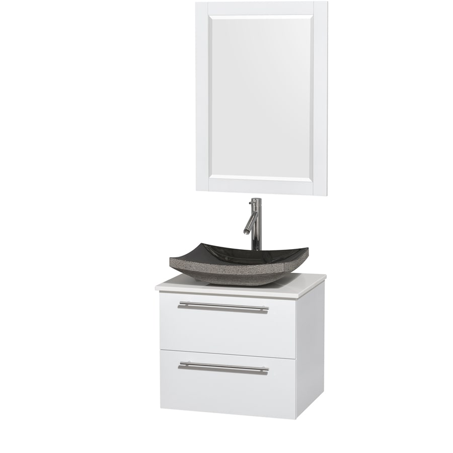 Wyndham Collection Amare Glossy White Single Vessel Sink Bathroom Vanity with Engineered Stone Top (Common: 24-in x 20-in; Actual: 24-in x 19.5-in)