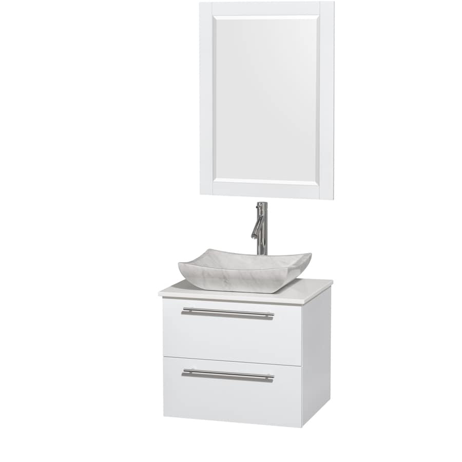 Wyndham Collection Amare Glossy White (Common: 24-in x 20-in) Vessel Single Sink Bathroom Vanity with Engineered Stone Top (Mirror Included) (Actual: 24-in x 19.5-in)