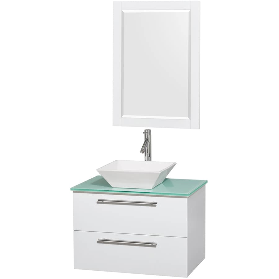 Wyndham Collection Amare White Single Vessel Sink Bathroom Vanity with Tempered Glass and Glass Top (Common: 30-in x 20.5-in; Actual: 30-in x 20.5-in)