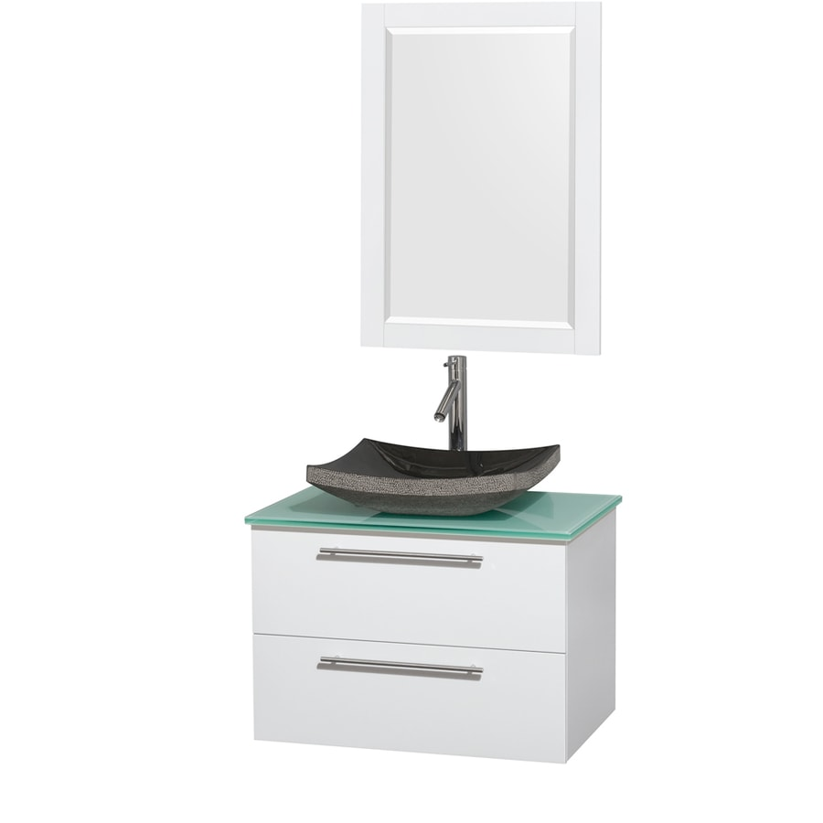 Wyndham Collection Amare Glossy White 30-in Vessel Single Sink Bathroom Vanity with Tempered Glass and Glass Top (Mirror Included)