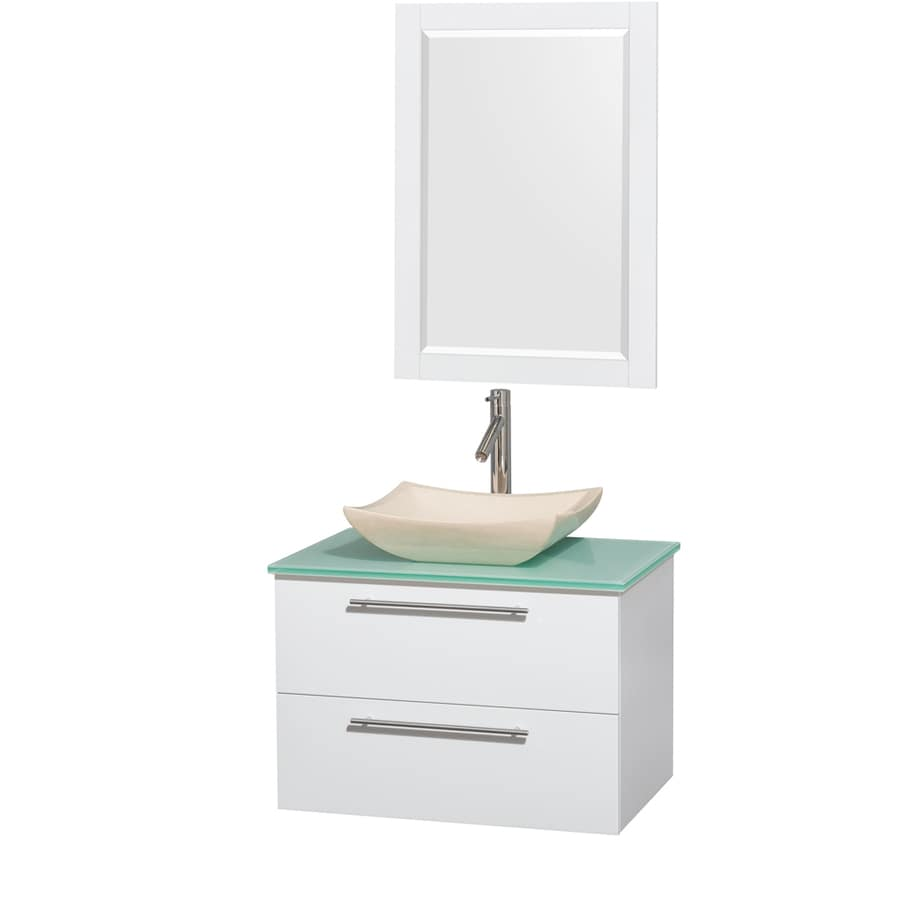 Shop Wyndham Collection Amare Glossy White Single Vessel Sink Bathroom Vanity With Tempered