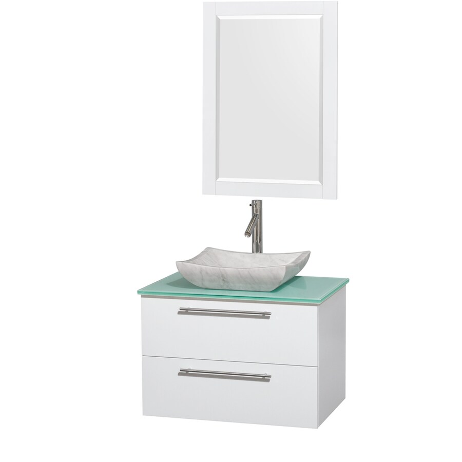 Wyndham Collection Amare Glossy White (Common: 30-in x 21-in) Vessel Single Sink Bathroom Vanity with Tempered Glass and Glass Top (Mirror Included) (Actual: 30-in x 20.5-in)